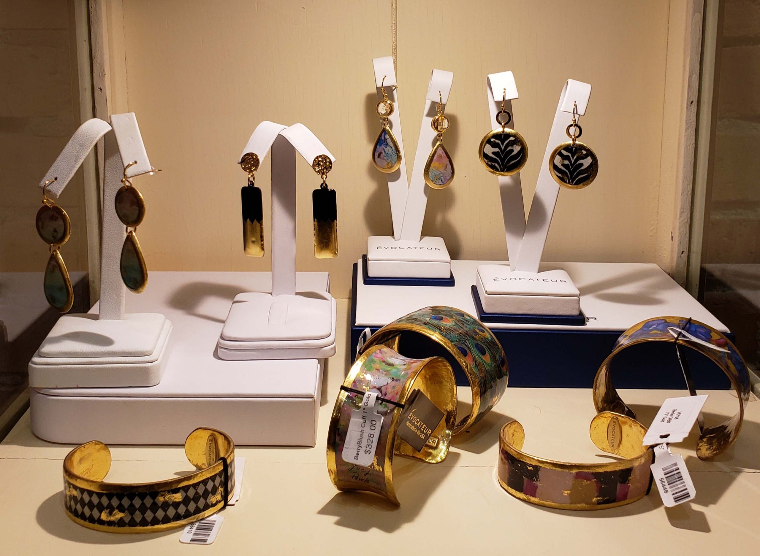 Hand made cuffs, earrings and pendants.
